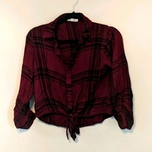 Red Button up Flannel Tie in front S